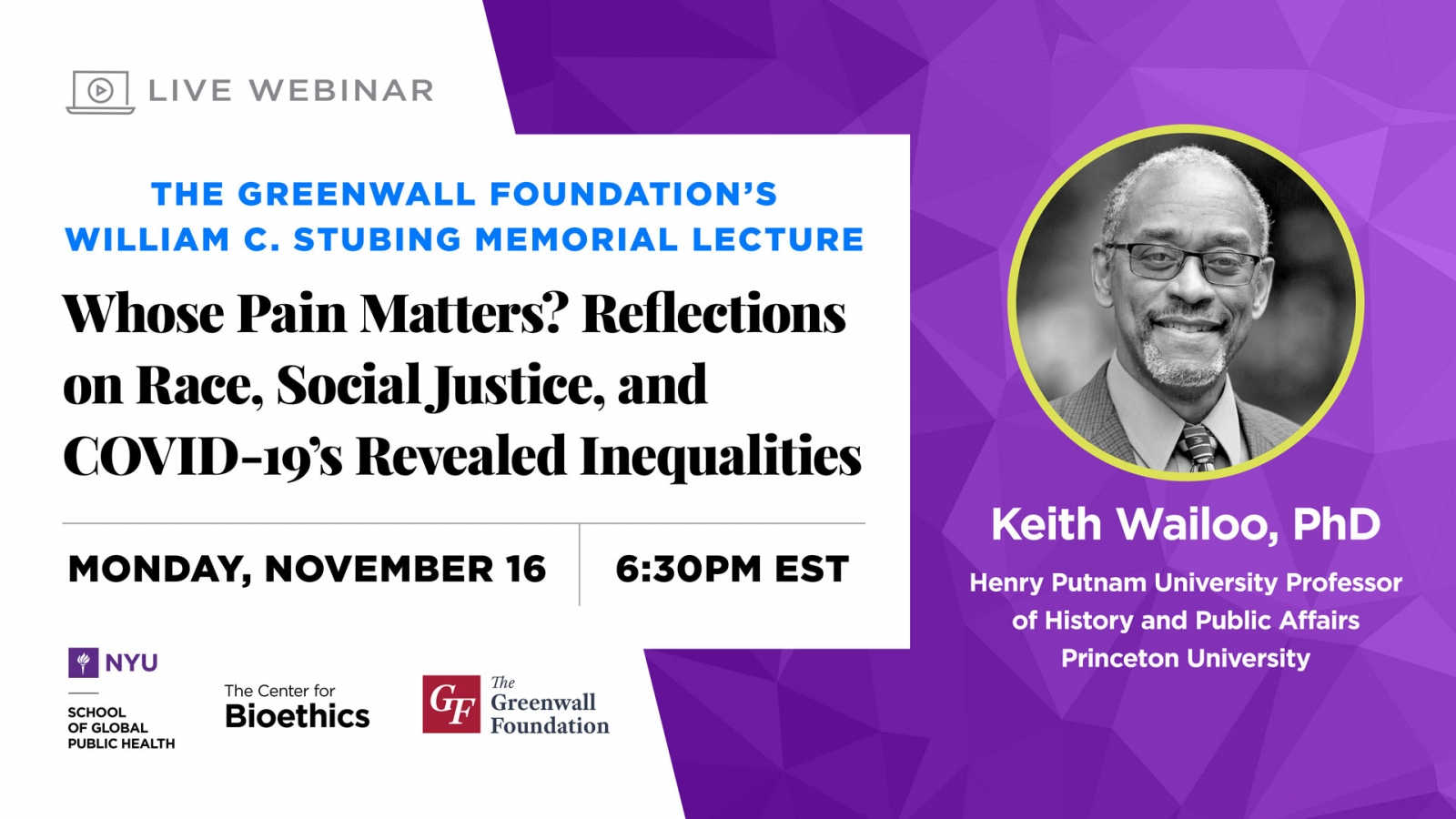 William C. Stubing Memorial Lecture: Whose Pain Matters? Reflections on Race, Social Justice, and COVID-19's Revealed Inequalities