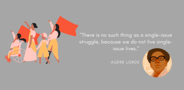 Audre Lorde quote that reads: There is no such thing as a single-issue struggle because we do not live single-issue lives.