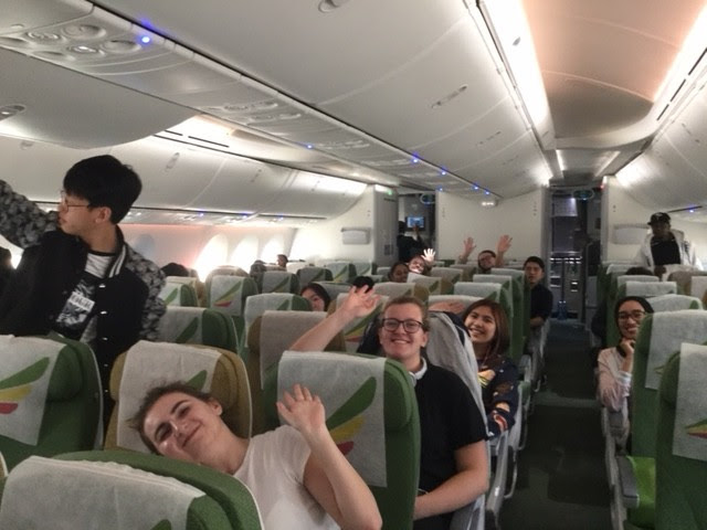 Students on plane